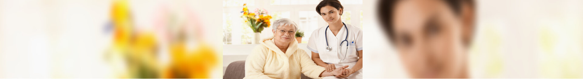 caregiver measuring pulse rate of senior woman at home