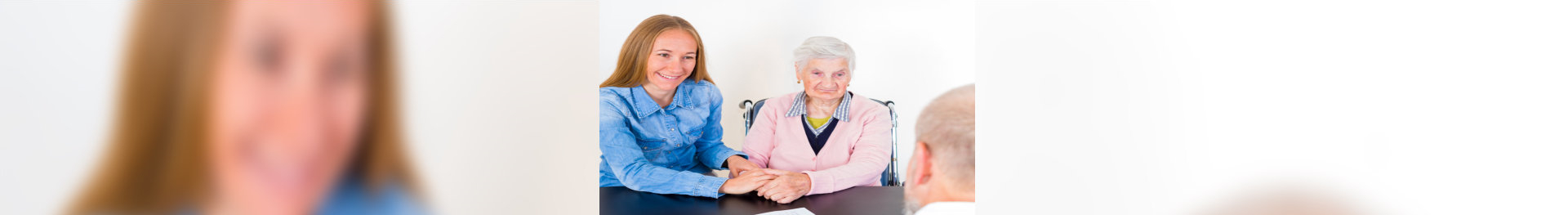 elderly woman with her caregiver having an appointment